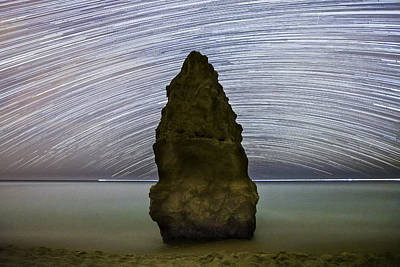 Startrail At Marinha Beach Poster by Andre Goncalves
