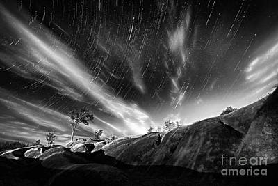 Startrails Over Badlands Poster
