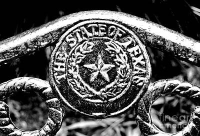 State Of Texas Seal And Star On Iron Fence After Rain Conte Crayon Black And White Digital Art Poster