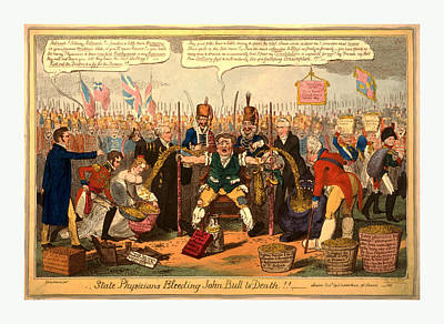 State Physicians Bleeding John Bull To Death Poster by English School