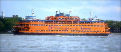 Staten Island Ferry In New York Harbor Poster by Michael Dagostino