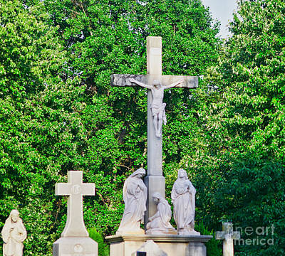 Statue - Crucifix And Crosses - Luther Fine Art Poster by Luther Fine Art
