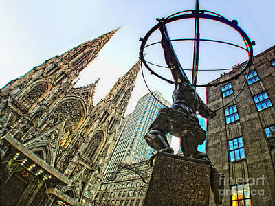 Statue Of Atlas Facing St.patrick's Cathedral Poster by Nishanth Gopinathan
