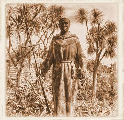 Statue Of Saint Junipero Serra In The Gardens Of The Carmel Mission Forecourt - Close Sepia Poster by Michael Mazaika