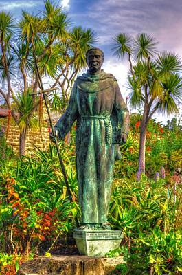 Statue Of Saint Junipero Serra In The Gardens Of The Carmel Mission Forecourt Poster by Michael Mazaika