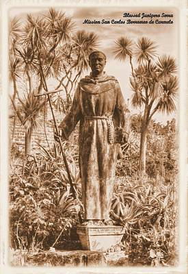 Statue Of Saint Junipero Serra In The Gardens Of The Carmel Mission Forecourt - Sepia Poster by Michael Mazaika