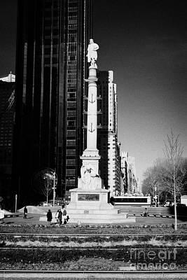 statue of Christopher Columbus on columbus circle new york city Poster by Joe Fox