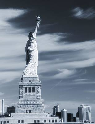 Statue Of Liberty Facing New York City Poster by Dan Sproul