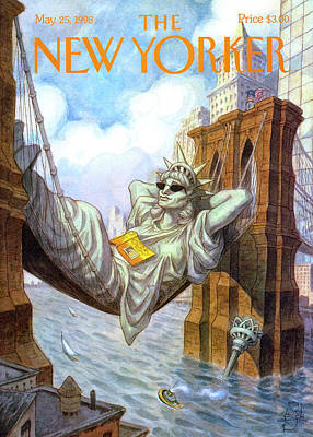 Statue Of Liberty Lounges Between The Brooklyn Poster