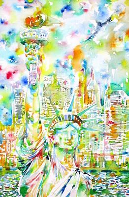 Statue Of Liberty - Watercolor Portrait Poster by Fabrizio Cassetta
