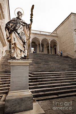 Statue Of Saint Benedict At Monte Cassino Abbey Poster by Peter Noyce
