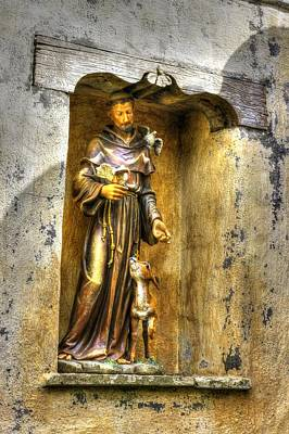 Statue Of Saint Francis Of Assisi - Alcove In The Gardens Of The Carmel Mission Poster