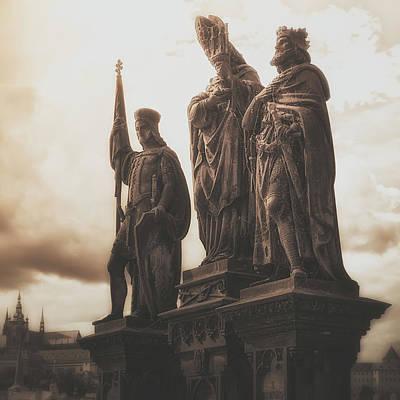 Statues Along Karl Bridge  Prague Poster by Robert Schenck