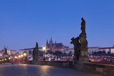 Statues On Charles Bridge With Castle Poster