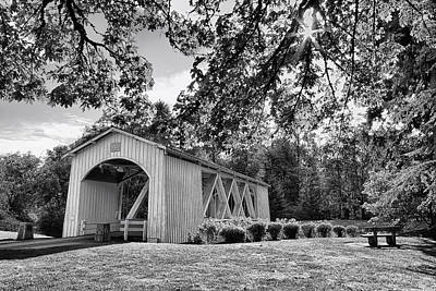 Stayton-jordan Covered Bridge Black And White Poster