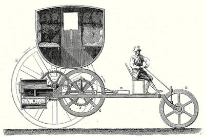 Steam Car Driving On Ordinary Roads Built In 1801 Poster by Trevithick, Richard Trevithick (1771-1833) And Andrew Vivian (1759?1842), British