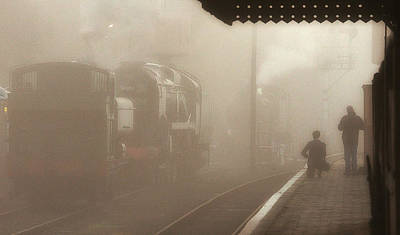 Steam Engines At Dawn Poster