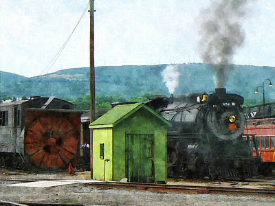Steam Locomotive Coming Into Train Yard Poster