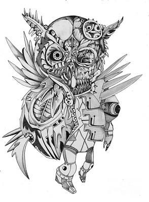 Steam Punk Skeleton Owl Poster by Ken Nguyen