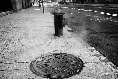Steam Rising From Dpw Manhole Cover On Sidewalk With Old Fashioned Fire Hydrant New York City Poster