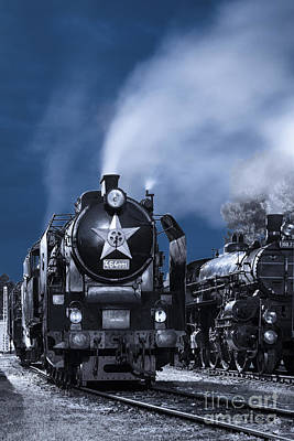 Steam Train In The Night Poster