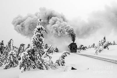 Steam Train On Brocken Mountain Poster by Christian Spiller