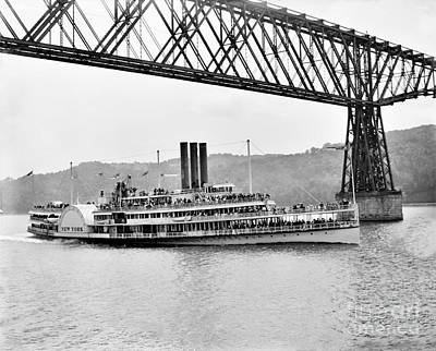 Steamer Albany Under Poughkeepsie Trestle Black And White Poster