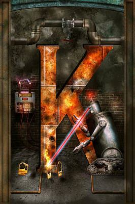 Steampunk - Alphabet - K Is For Killer Robots Poster
