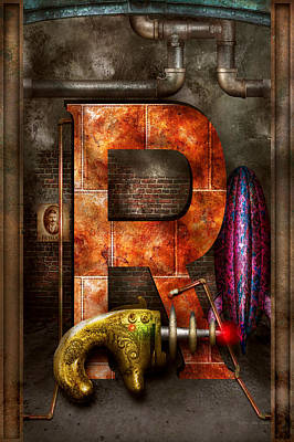 Steampunk - Alphabet - R Is For Ray Gun Poster by Mike Savad