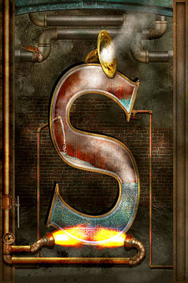 Steampunk - Alphabet - S Is For Steam Poster by Mike Savad