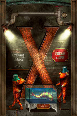 Steampunk - Alphabet - X Is For Xenobiology Poster by Mike Savad