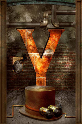 Steampunk - Alphabet - Y Is For Yellow Goggles Poster by Mike Savad