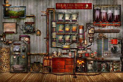 Steampunk - Coffee - The Company Coffee Maker Poster by Mike Savad