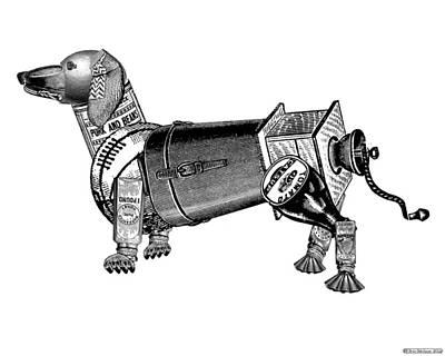 Steampunk Dog Poster by Eric Edelman