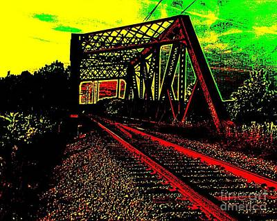 Steampunk Railroad Truss Bridge Poster