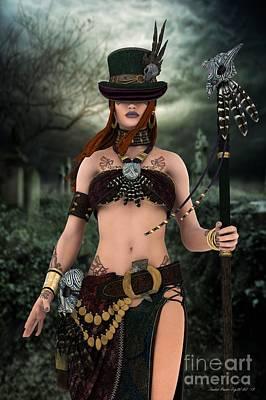 Poster featuring the digital art Steampunk Voodoo by Sandra Bauser Digital Art