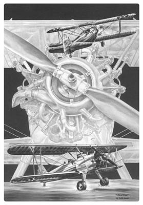 Poster featuring the drawing Stearman - Vintage Biplane Aviation Art by Kelli Swan