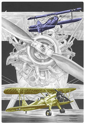 Poster featuring the drawing Stearman - Vintage Biplane Aviation Art With Color by Kelli Swan