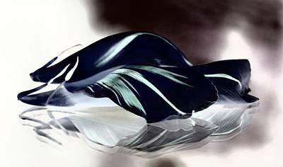 Steel Black And Blue Petals Poster