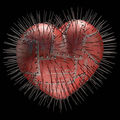 Steel Heart With Spikes Poster by Ktsdesign