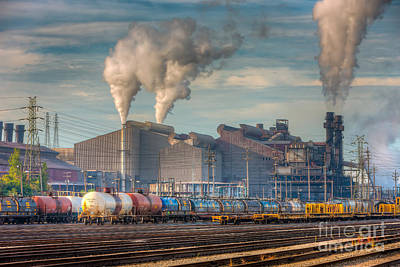 Steel Mill And Freight Yard I Poster by Clarence Holmes