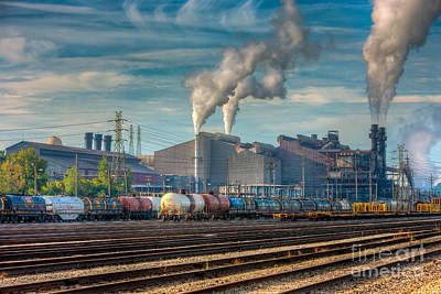 Steel Mill And Freight Yard IIi Poster by Clarence Holmes