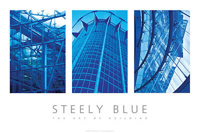 Poster featuring the digital art Steely Blue The Art Of Building Poster by David Davies