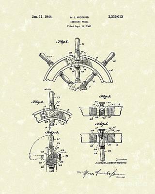 Steering Wheel 1944 Patent Art Poster by Prior Art Design