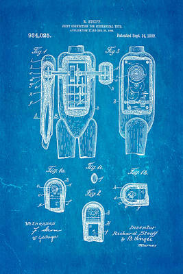 Steiff Bear Toy Patent Art 1909 Blueprint Poster