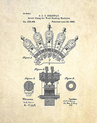1880 Steinway Screw Clamp Patent Art Poster
