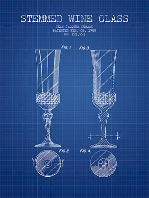 Stemmed Wine Glass Patent From 1988 - Blueprint Poster by Aged Pixel