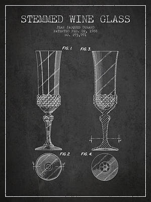 Stemmed Wine Glass Patent From 1988 - Charcoal Poster
