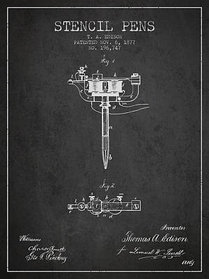 Stencil Pen Patent From 1877 - Charcoal Poster by Aged Pixel