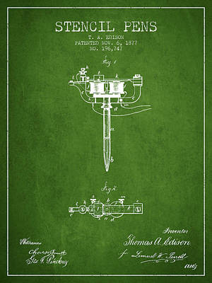 Stencil Pen Patent From 1877 - Green Poster